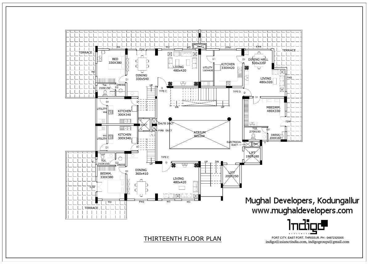 Thirteenth floor plan of Mughal Apartments Kodungallur