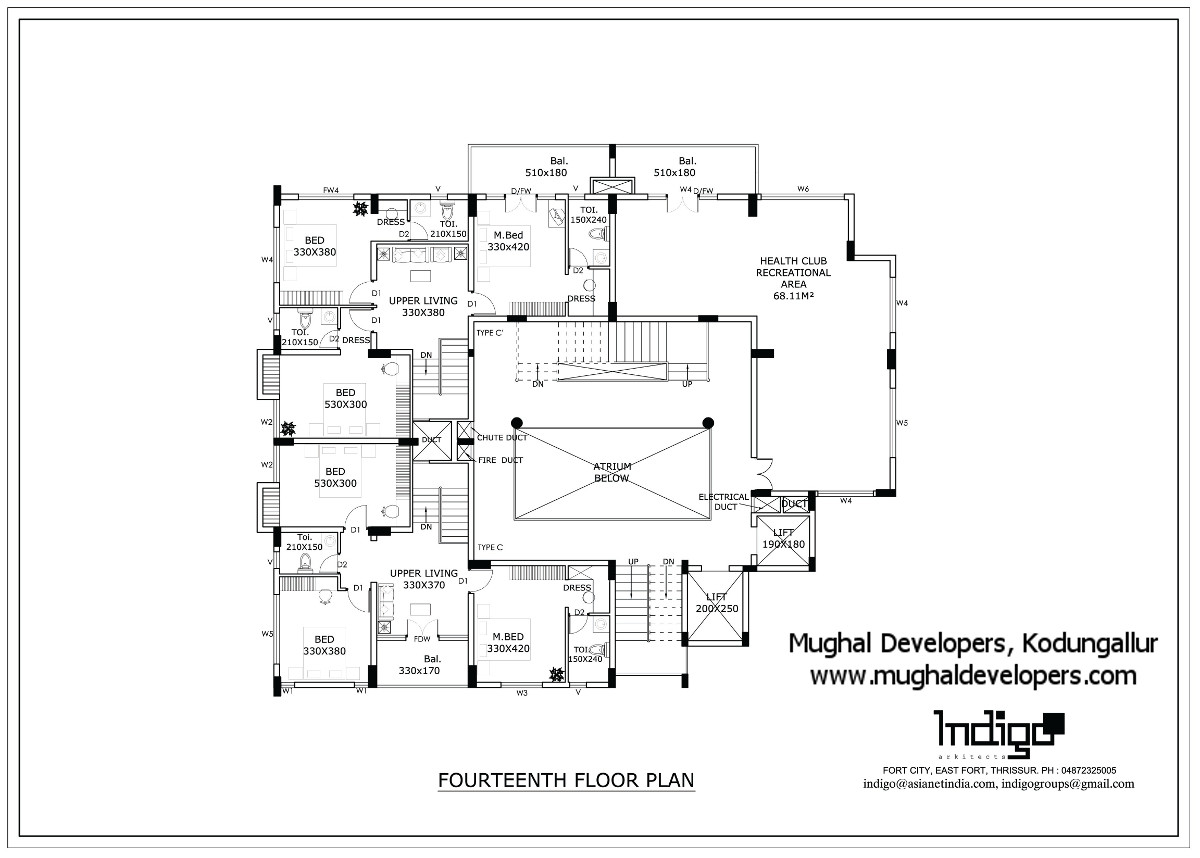 Fouteenth floor plan of Mughal Apartments Kodungallur