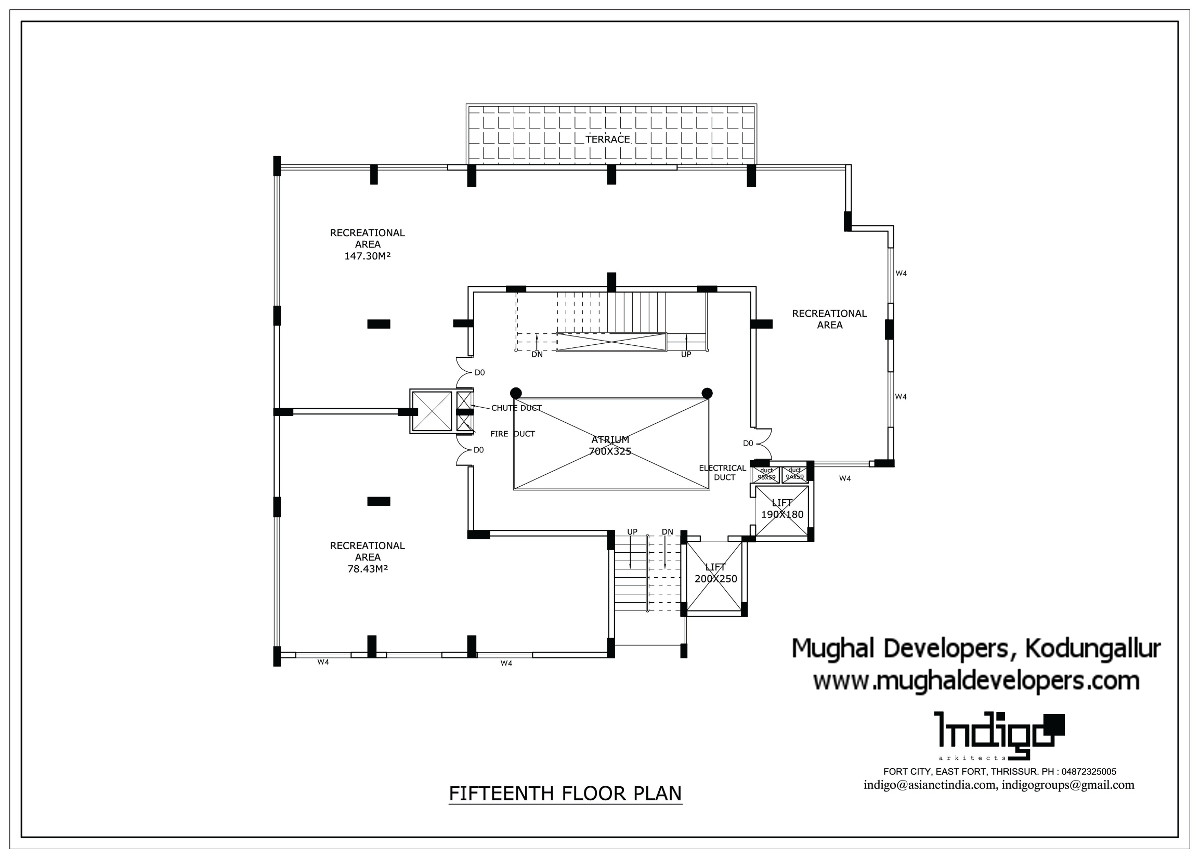 Fifteenth floor plan of Mughal Apartments Kodungallur