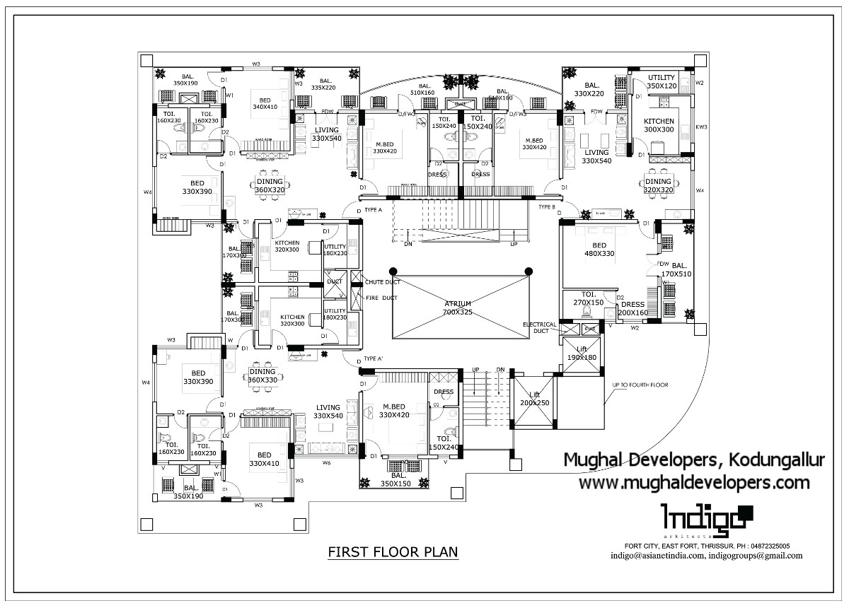 First floor plan of Mughal Apartments Kodungallur