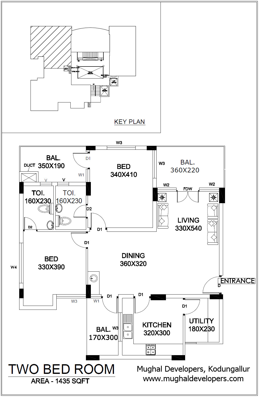 Apartment plan 2 Bedroom Hall Kitchen (2BHK) - Mughal Apartments, Kodungallur