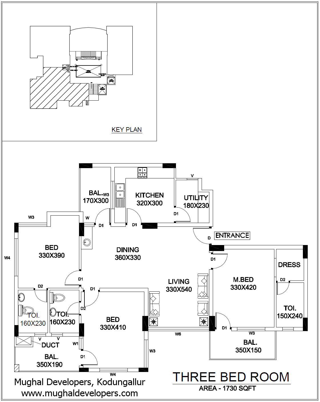 Apartment plan 3 Bedroom Hall Kitchen (3BHK) - Mughal Apartments, Kodungallur