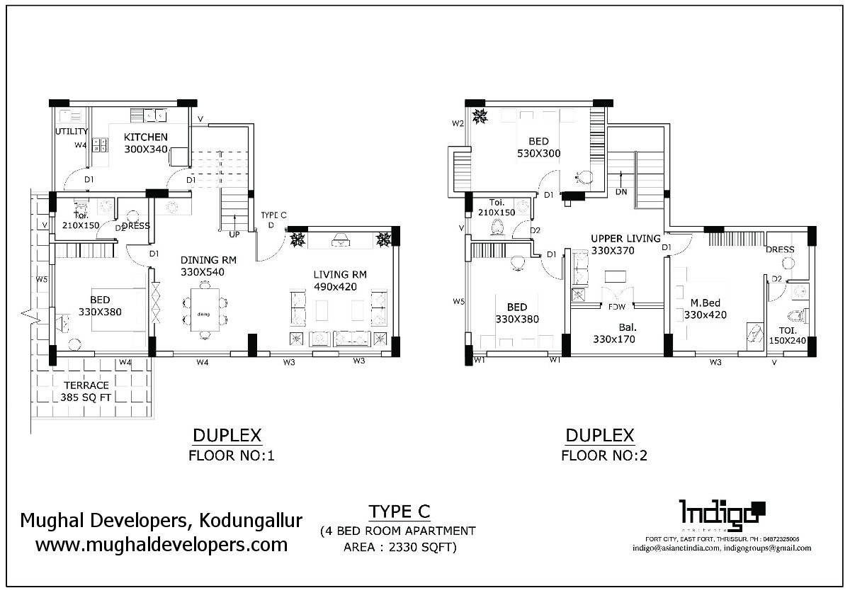 Apartment plan Type C 4 Bedroom Hall Kitchen (4BHK Duplex Flat) - Mughal Apartments, Kodungallur