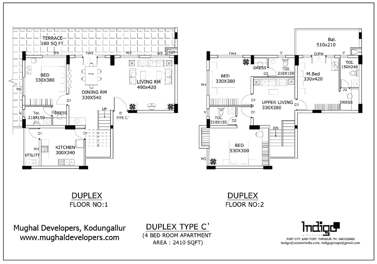 Apartment plan Type C' 4 Bedroom Hall Kitchen (4BHK Duplex Flat) - Mughal Apartments, Kodungallur