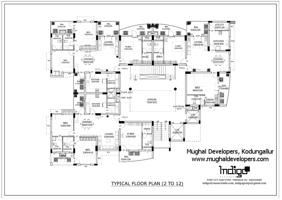Typical floor plan of Mughal Apartments Kodungallur